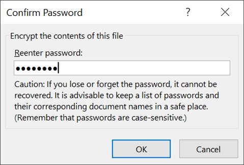Confirm the encryption password