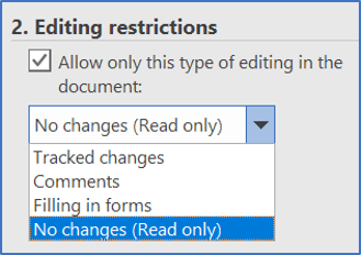 Editing restrictions: Only allow this type of editing in the document