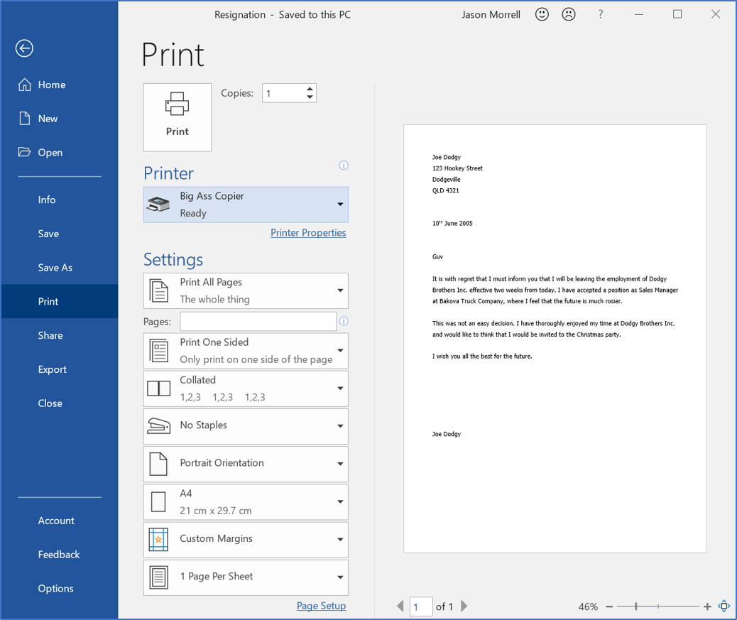 The Print settings in the backstage of Word allow you to preview your document before printing