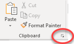 Click the launcher icon in teh bottom-right of the Clipboard group (Home ribbon) to open the Office Clipboard pane