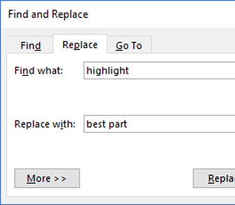 Use the Replace tool in the Find dialog to replace one text item with another