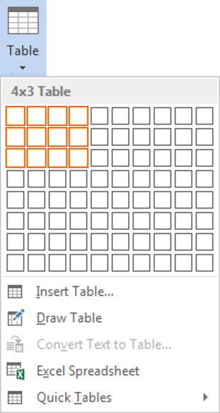 Creating a table in Word