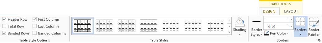 Table Styles | Design ribbon