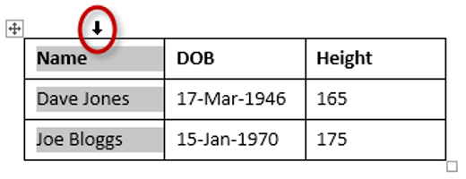 How to select a column in a table in Word