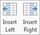 Use the Insert Left and Insert Right buttons to insert an extra column into a table in Word