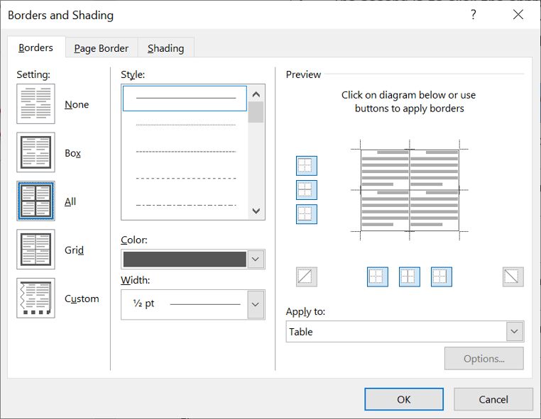The Borders & Shading dialog box in Word