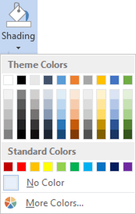 Stick to the lighter shades when painting table cells in Word, unless you want to differentiate by using a darker background colour with lighter font colour