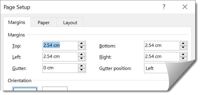 Type the margin values straight into each box or use the up and down spinner arrows to change the value