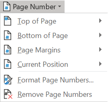 Adding pages numbers to appear automatically throughout your document