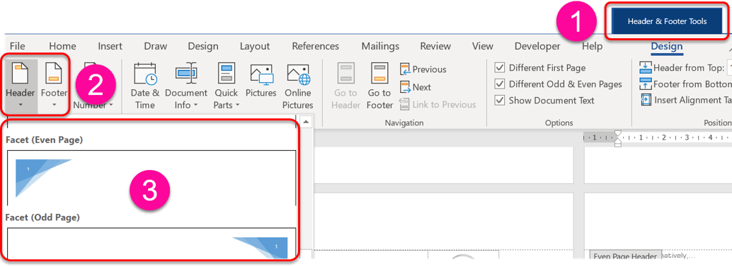 Choose a header or footer design from the gallery on the Header and Footer Tools ribbon (Word page settings)