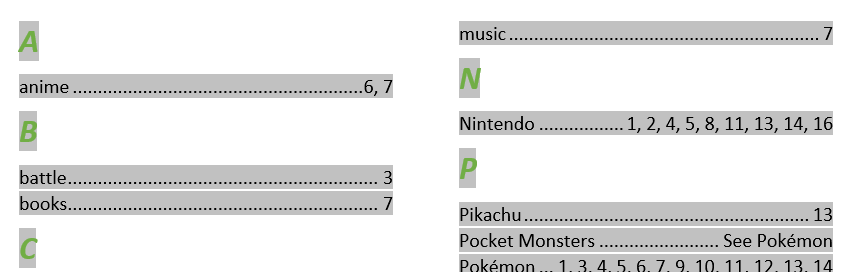 Word Index - click on the existing index to display the grey shading
