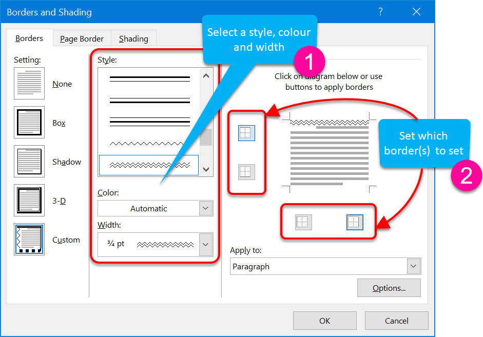 Set a custom paragraph border