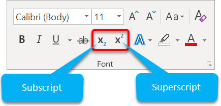 Superscript and subscript icons