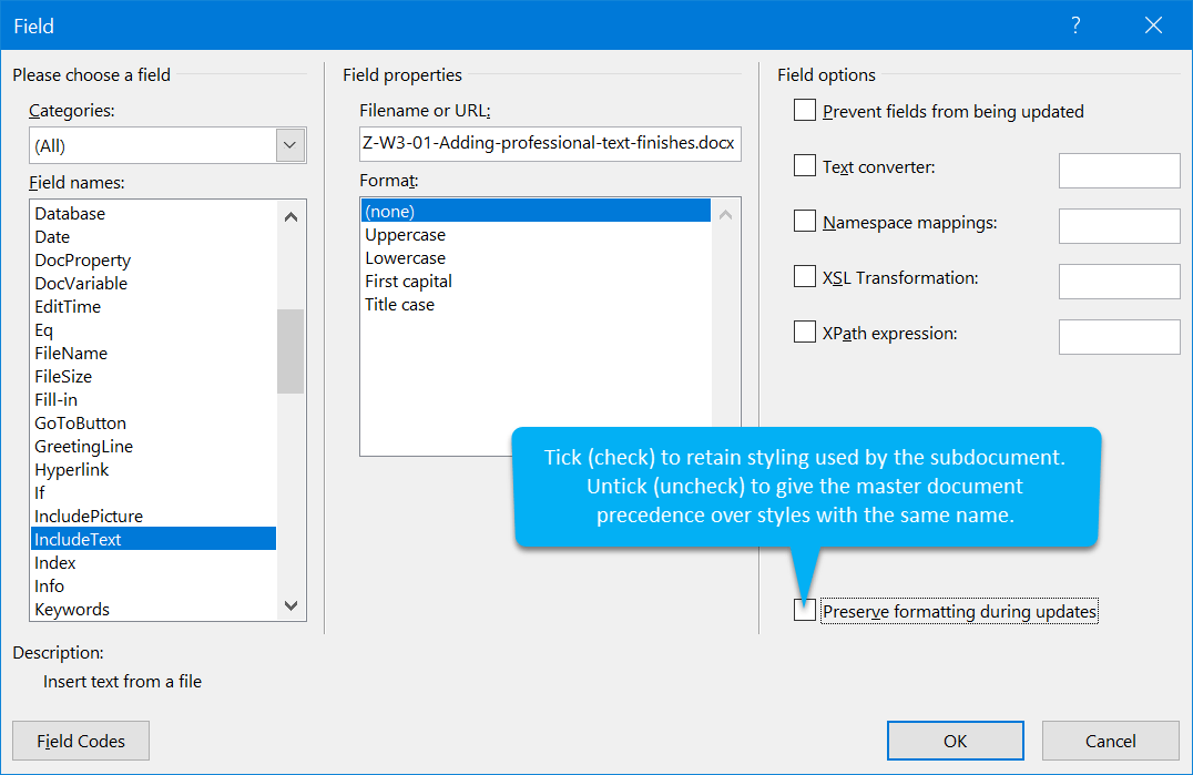 INCLUDETEXT switches and options
