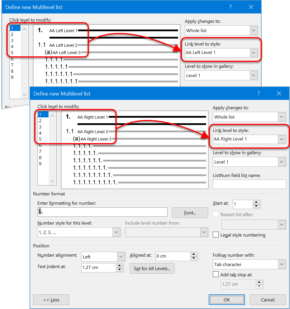Numbering setup for dual numbering system