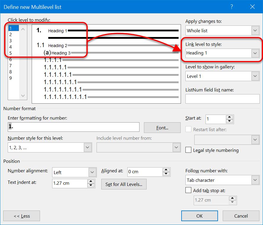 Numbering setup using standard styles