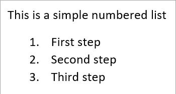 Simple numbered list