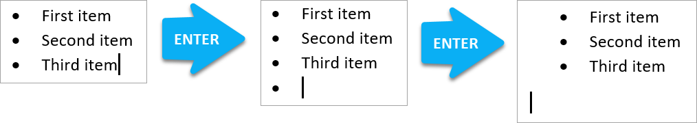 End bullet list