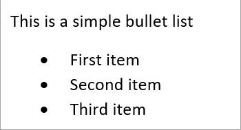 Simple bullet list