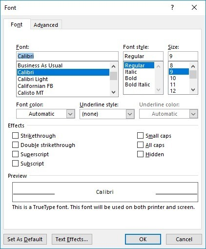 Example of a dialog box from Word