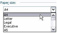 Example of a dropdown list in a Word dialog