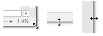 Risize a window by dragging the double-headed arrows