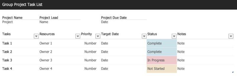Group project task list (Excel template)