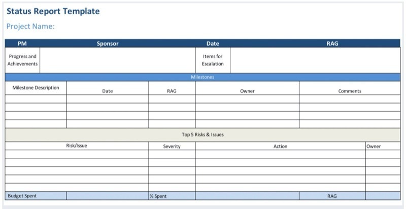 Status report Excel template