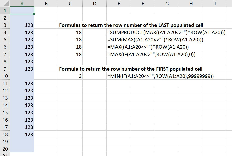 All the formulas to return the row number of the last populated cell or first populated cell in a range