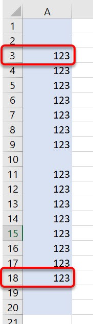 A range of 20 cells